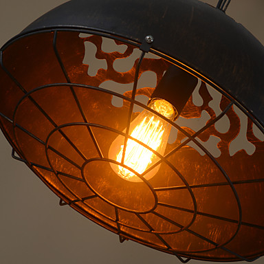 Loft vintage black iron Lid cover shades pendant light retro industry black hanging light for kitchen dining room