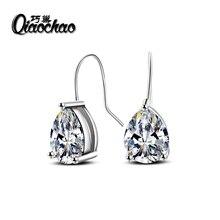 Free Gift Box Luxury Female Zircon Drop Earrings Silver Plated CZ Crystal Flower Dangle Earrings For
