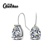 Free Gift Box Luxury Female Zircon Drop Earrings Silver Plated CZ Crystal Flower Dangle Earrings For Women Jewelry Wholes