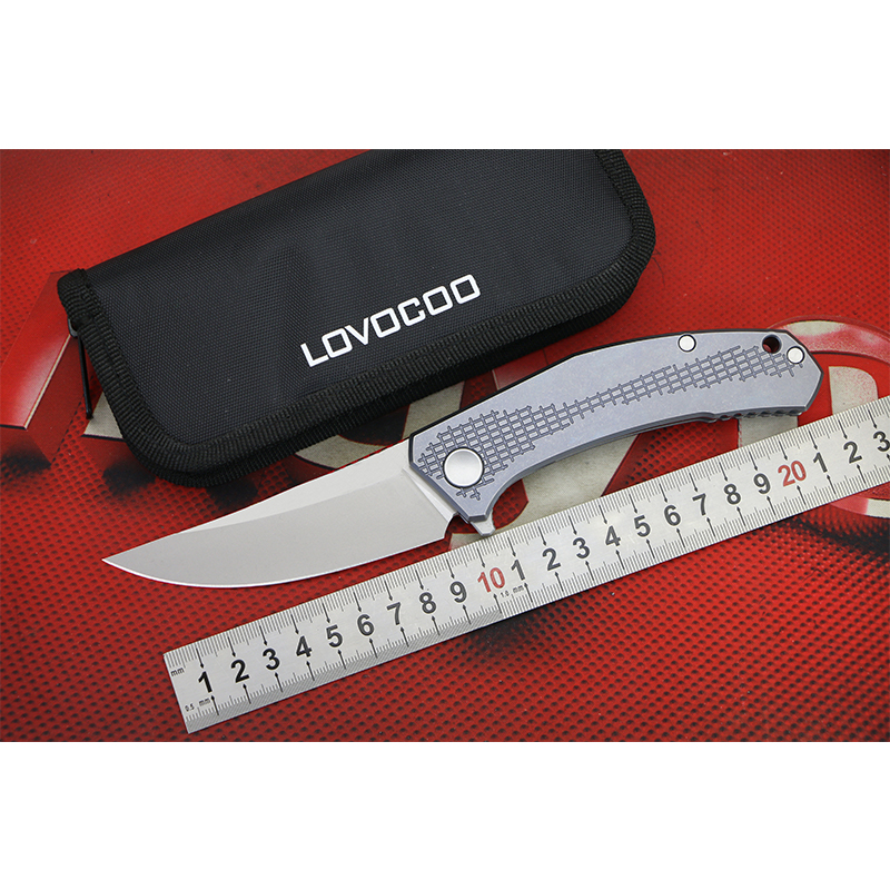LOVOCOO JEANS Flipper folding knife D2 steel Titanium handle outdoor camping hunting pocket knives EDC tools Gift Green thorn green thorn made dark flipper folding knife d2 titanium blade g10 handle outdoor survival hunting camping fruit knife edc tools