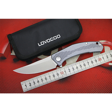 LOVOCOO джинсы Флиппер складной нож D2 стали Титан ручка Открытый Отдых Охота Карманные Ножи EDC инструменты подарок зеленый шип