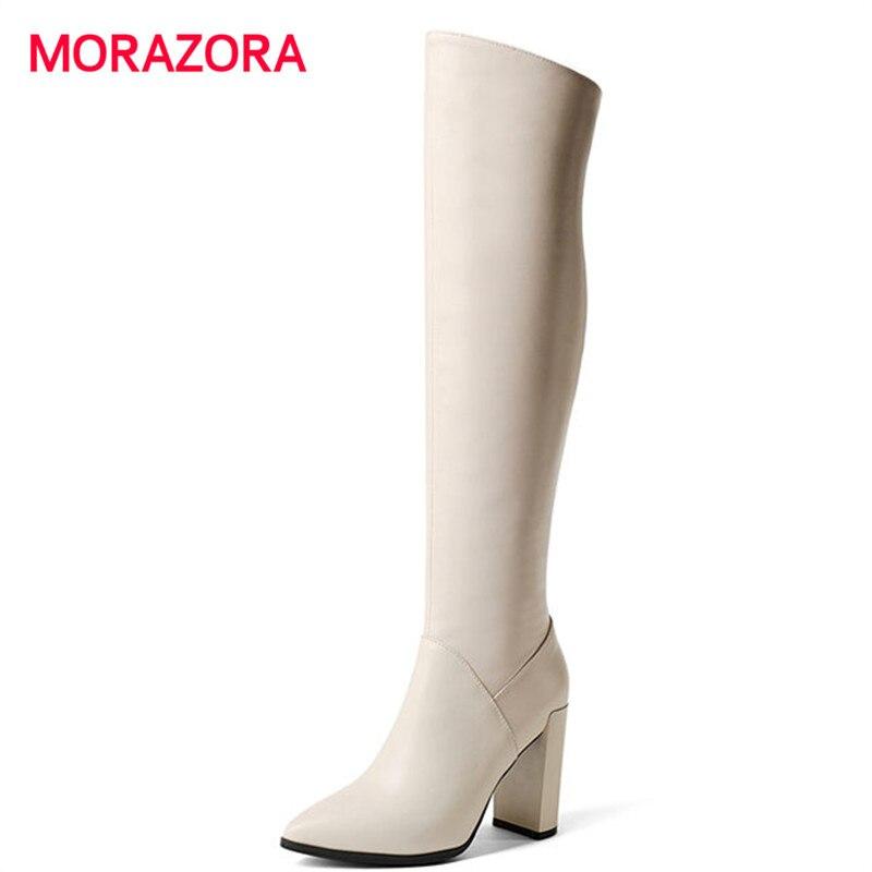 все цены на MORAZORA 2018 new pointed toe knee high boots fashion zipper pu+genuine leather boots autumn winter super high heel women boots