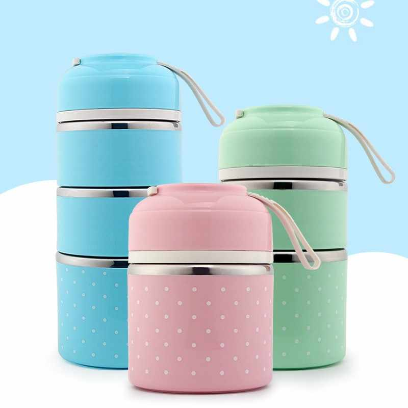 Cute Japanese Thermal Lunch Box Leak-Proof Stainless Steel Bento Box Kids Portable Picnic School Food Container Kitchen Supplies