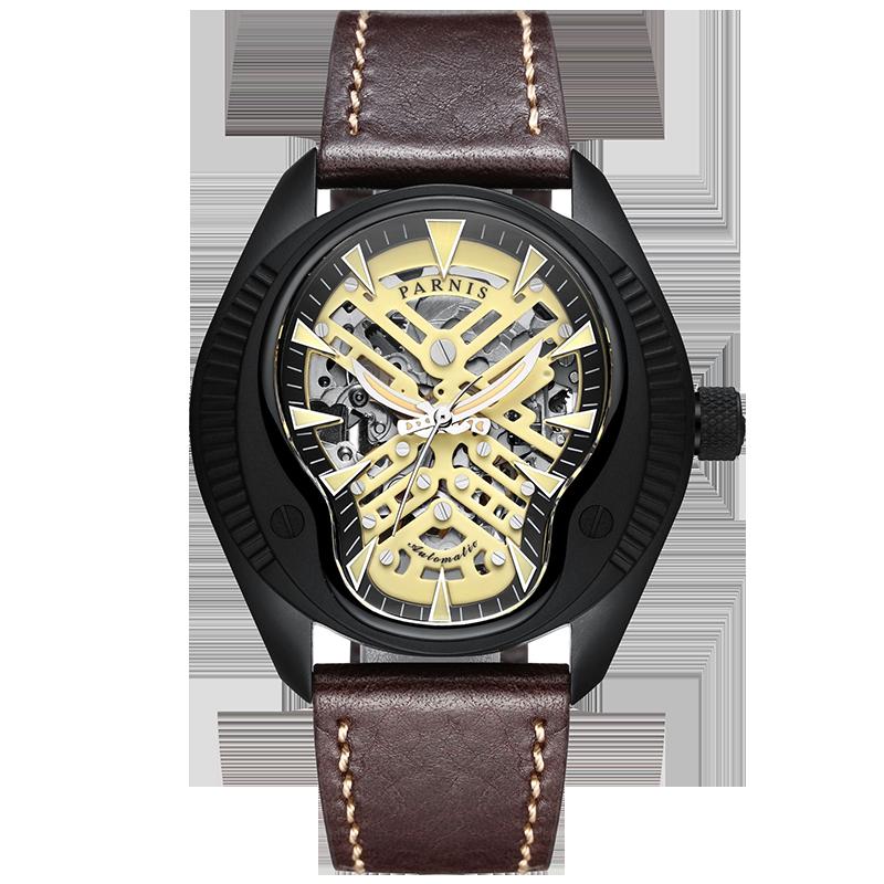 Parnis Skull Luminous Dial Mens Leather Watchband Fashion Mechanical Watch Wristwatch