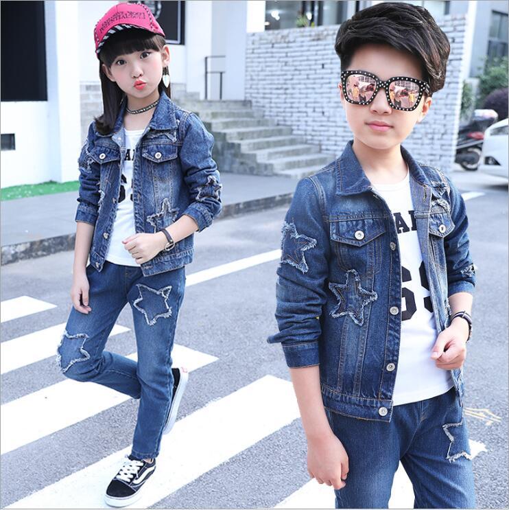 купить baby Boy Suit New Casual Children's Clothing Sets Cowboy Jacket+T-shirt+Pants Kids 3pcs Suit Sets Infant girls Clothes 4-15years недорого