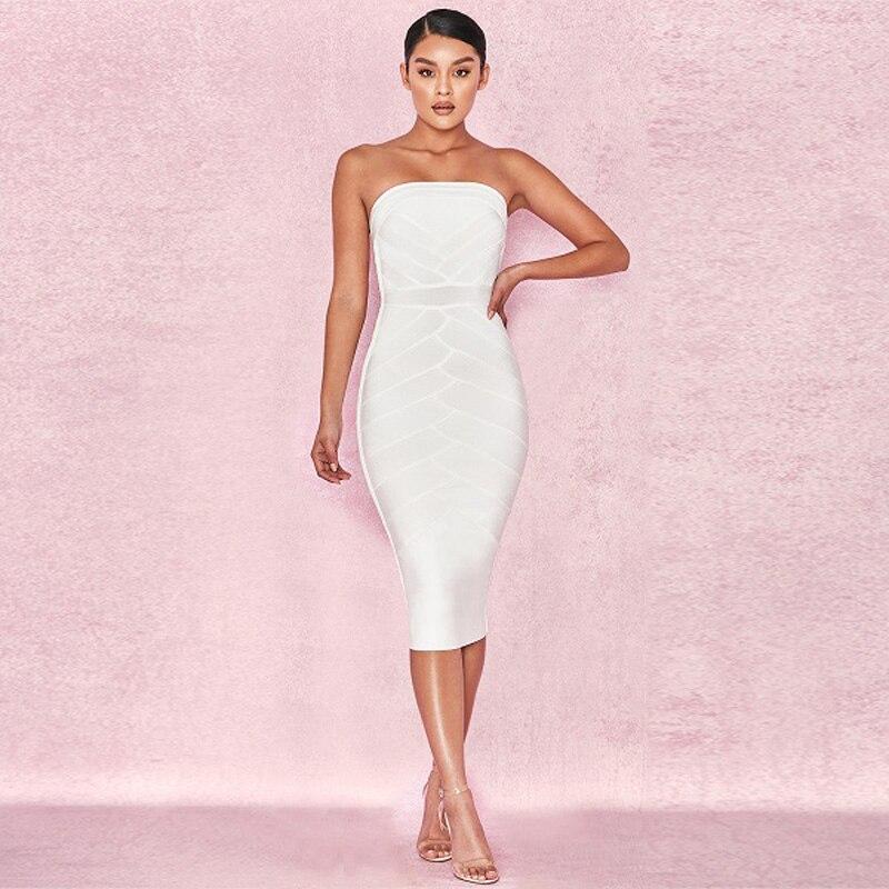Moulante Femmes De En Date Sexy Gros 2018 Robes Sliod Soirée Blanc Bandage Manches Mode Sans Bretelles Robe Partie S7RUq1w