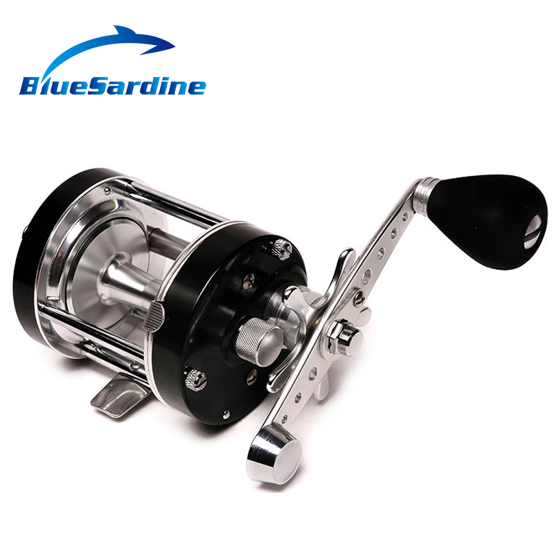 Right Hand Metal Cast Drum Wheel Black Bait Casting Fishing Reel Boat Sea Saltwater 3+1 Ball Bearing Baitcasting Reels metal round jigging reel 6 1 bearing saltwater trolling drum reels right hand fishing sea coil baitcasting reel