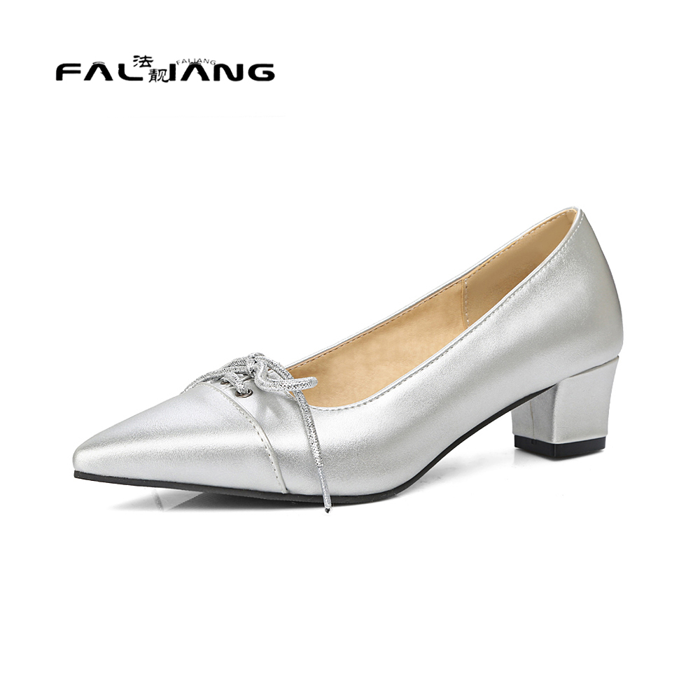 Big Size 11 12 13 14 16 17 Spring/Autumn Sexy Butterfly-knot Pointed Toe Casual Square heel Women's Shoes Pumps Woman For Women new flock high big size 11 12 women shoes wedges pointed toe woman ladies butterfly knot casual spring autumn sweet single shoes