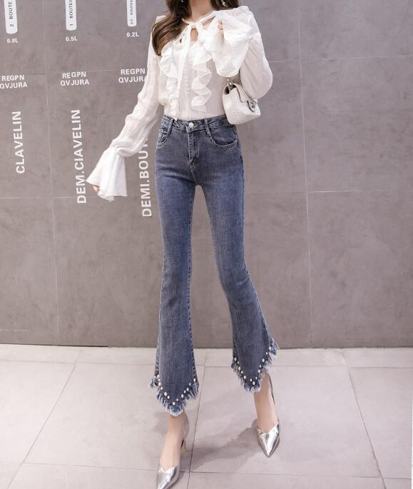 High Waist Women Jeans Flare Pants Tessal Bead Slim Fashion Pants High Waist High Elastic Ankle-Length Denim Trousers 14