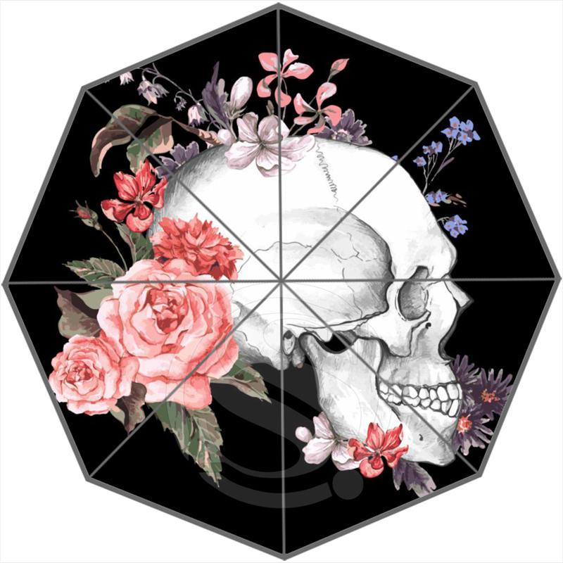 Творческий заказ череп модные Портативный Трехместный складной Защита от солнца и дождя зонтик декоративные Зонты sq0707-h02