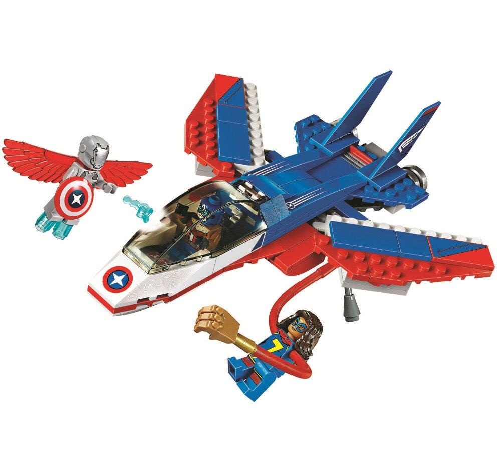 BELA Batman Super Heroes Captain America Jet Pursuit Building Blocks Bricks Movie Model Kids Toys Marvel Compatible Legoe
