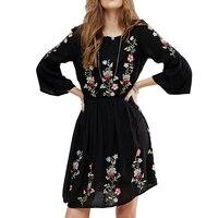 Noir Floral Broderie Mini Robe Automne 100% Coton Plissé Flûte Manches Ethnique Boho Chic Skater Journée Décontractée Robes Pour Femmes