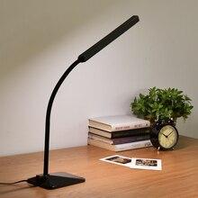 Modern LED Eye-protective Desk Lamp Office Study Bedroom Bedside Reading Lamp Touch Dimmer Table Light with Adjustable Gooseneck