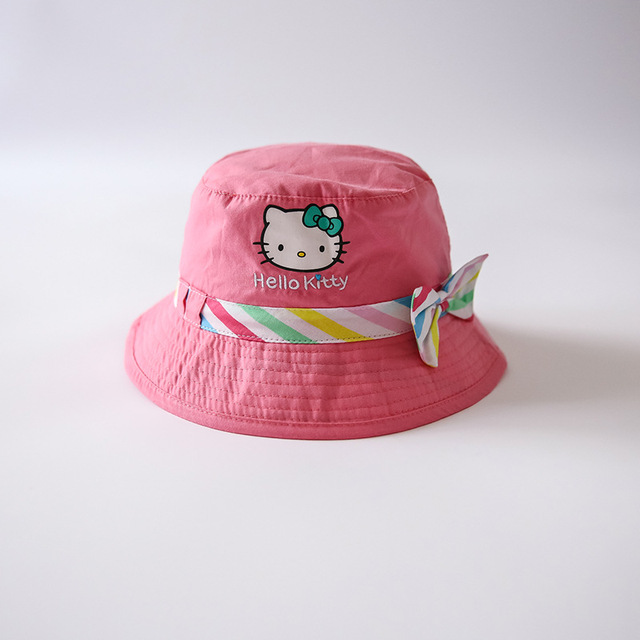 1-5 years girl hats children Sun fisherman hat cap Pink Hello kitty Bow tie  high quality Cotton baby cap 89f793abd54