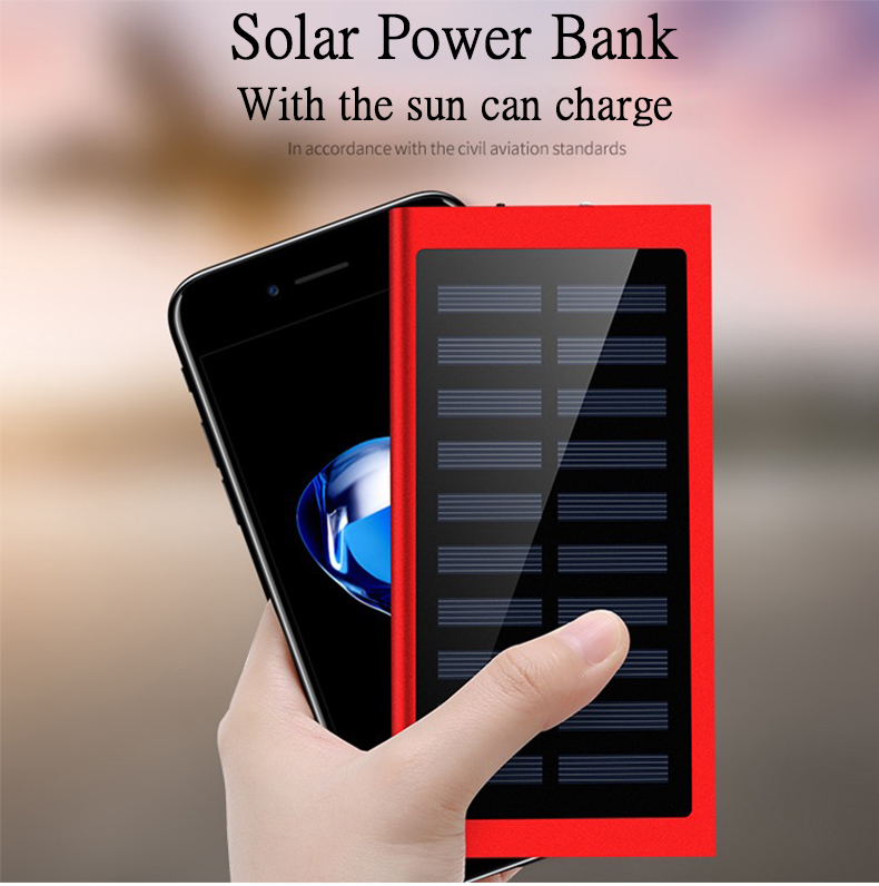 Waterproof 30000mAh Solar Power Bank in Metal Shell Design with Dual-USB Ports 1