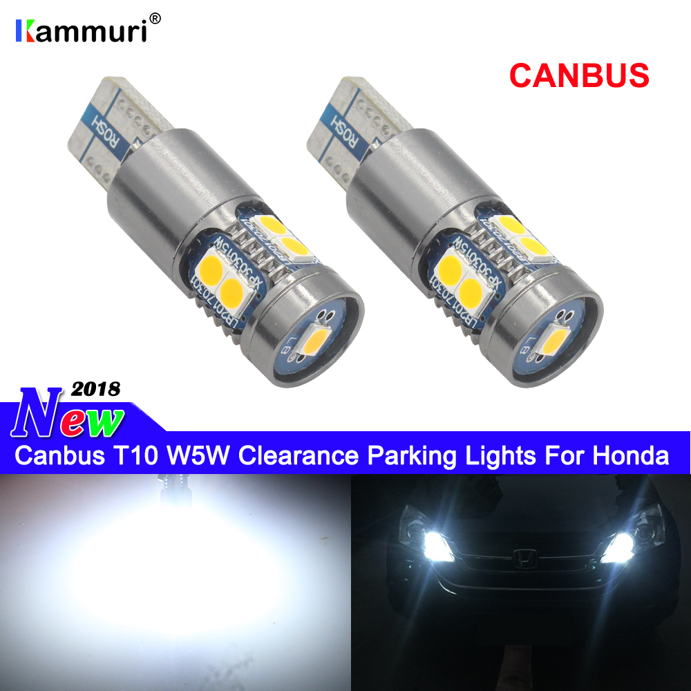 KAMMURI 2P Canbus T10 W5W LED Clearance Parking Lights For Honda Accord Crosstour Civic CR-V CR-Z Fit Odyssey Pilot Ridgeline