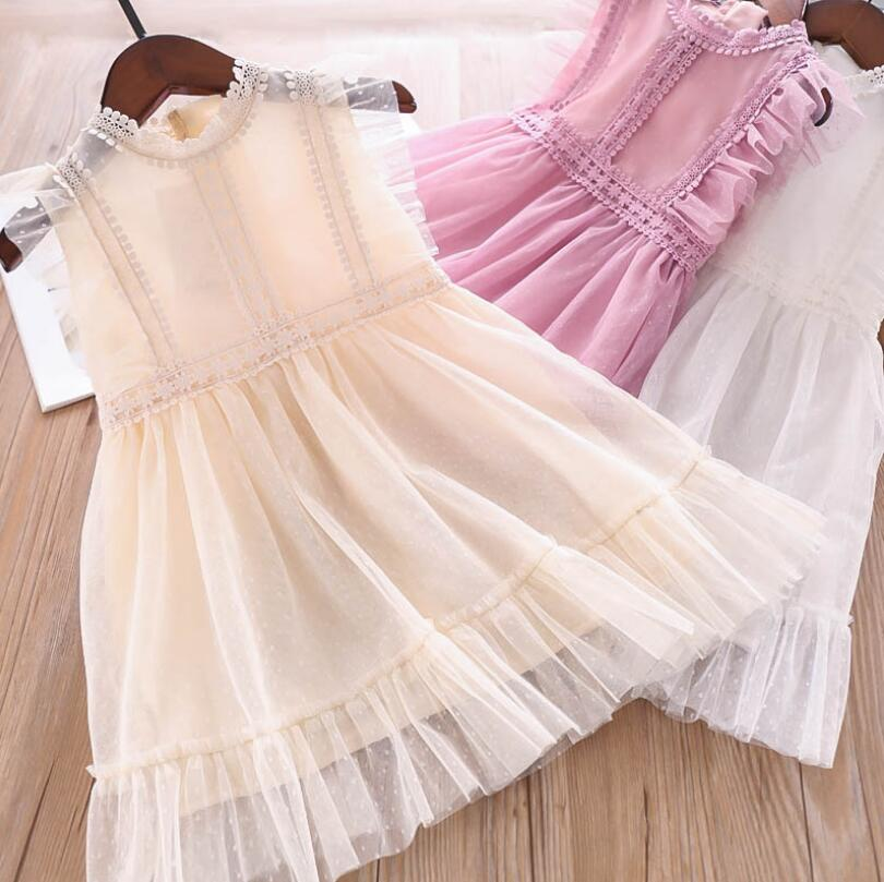2019 Summer Children Girls Fairy Lace Dot Dresses Princess Sweet Dress Pink White Cream 5 pcs