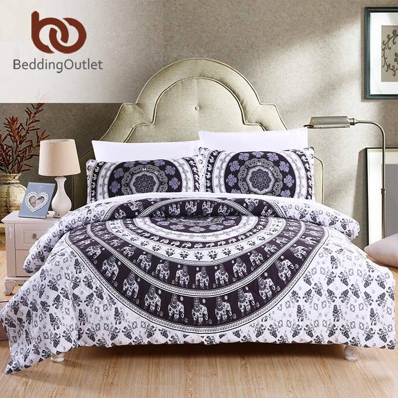 Beddingoutlet Comforter Set Vanitas Quilt Duvet Bohemian Black And White Boho Bedclothes 3pcs