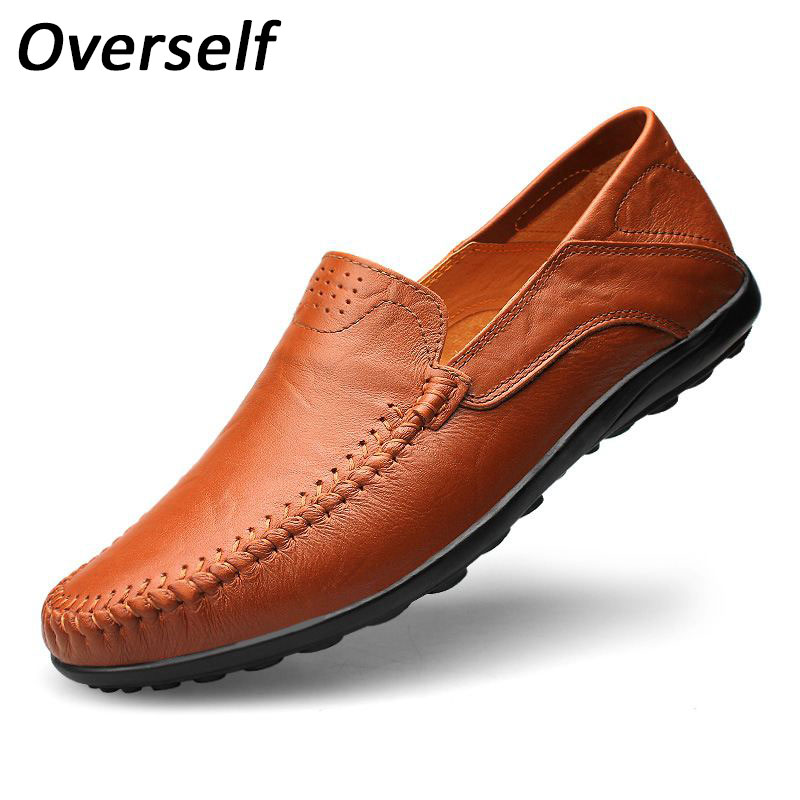 Fashion 2019 Men's Shoes 37 to 48 Big Plus big Size Genuine Leather Casual Men Shoes Soft Moccasins Loafers for man 1
