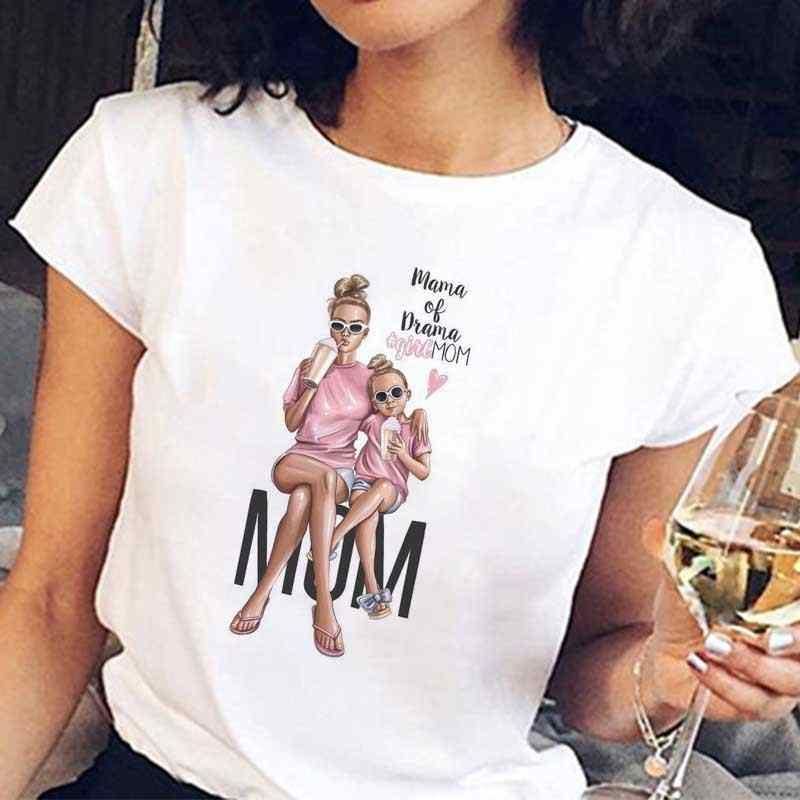 Baru 2019 T Shirt Vogue Tee Kemeja Korea Fashion Pakaian Harajuku Kawaii Putih Tshirt Super Mom Kaos Wanita Ibu 'S