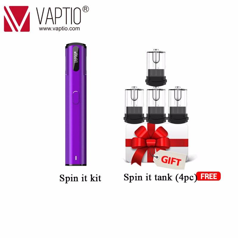 Pod Vaping cigarette électronique 500 mAh Vaptio Spin IT kit 15 W batterie intégrée 1.8 ml atomiseur rechargeable tout-en-un Kit de stylo vape