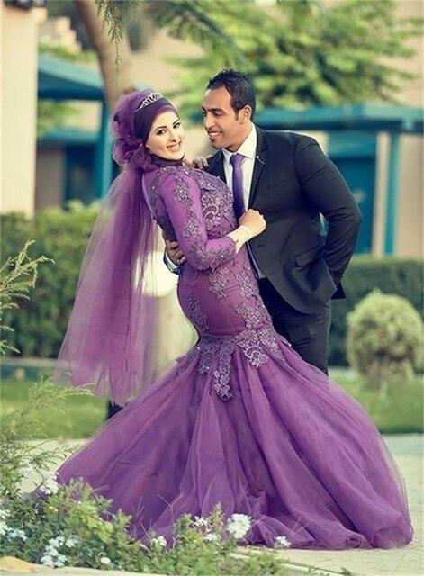 Mode Custom Made Lengan Panjang Gaun Ungu Gaun Pengantin Arab Muslim