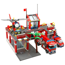 цена на 774Pcs City Fire Station Truck Helicopter Firefighter Minis Building Blocks Bricks Toys Brinquedos Toys For Children Legoings
