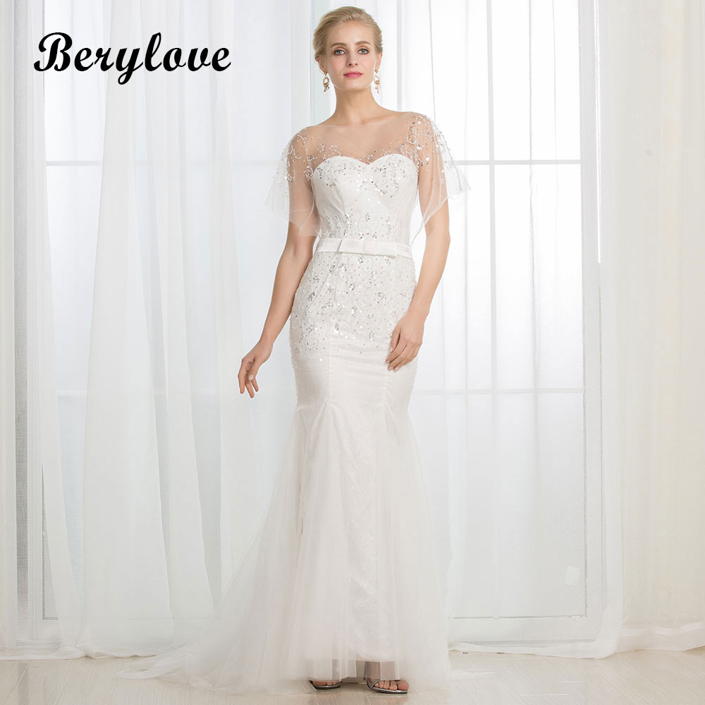 BeryLove Unique White Mermaid Wedding Dresses 2018 Long Beaded Sequined Tulle Wedding Gowns China Women Styles Bridal Dresses