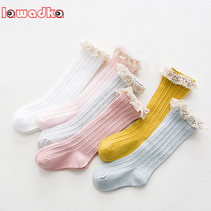 Lawadka Kid Princess Girls Socks Children's Knee High Socks With Lace Baby Leg Warmers Cotton Spring Style