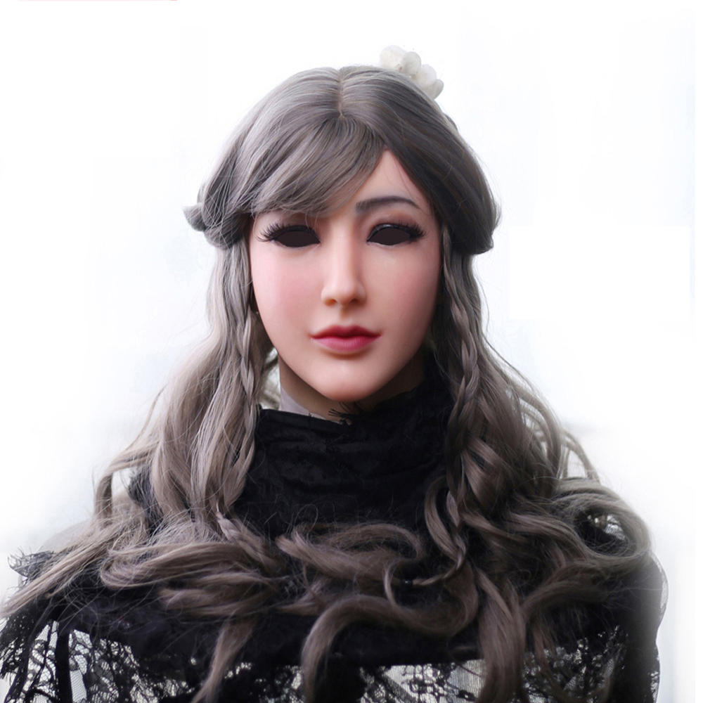 EYUNG silicone mask female Goddess Alice female face mask with light makeup for crossdresser Masquerade Hide