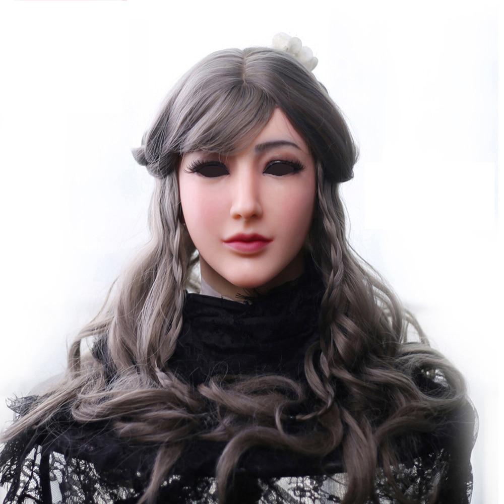Ev ve Bahçe'ten Parti Maskleri'de EYUNG silikon maske kadın Tanrıça Alice kadın yüz maskesi ile ışık makyaj crossdresser Masquerade Gizlemek yüz skar'da  Grup 1