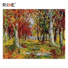 RIHE Forest Diy Painting By Numbers Abstract Tree Oil Painting On Canvas Cuadros Decoracion Acrylic Wall Picture Home Decor 2018 rihe fall park diy painting by numbers chair woman oil painting on canvas cuadros decoracion acrylic wall picture home decor