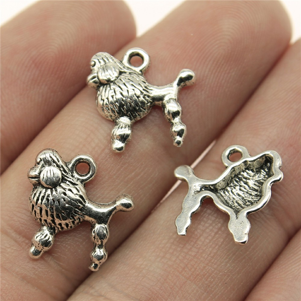 WYSIWYG 20pcs 14*14mm Poodle puppy Pendants Charms Findings Jewellery Making Findings for DIY Craft
