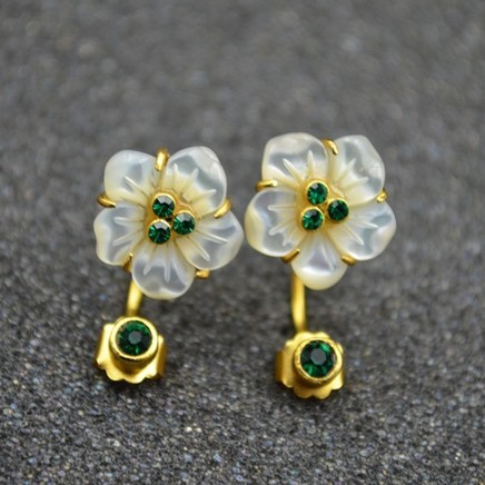 Exclusif fait sur commande argent s925 argent naturel coquille fleur boucles d'oreilles femmes mode bijoux femme nouveau style goujon