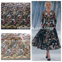 1 3m Width Fashion Black White Mixed Colours On Netting Heavy Embroidered Gold Lace Fabric Hight
