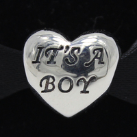 ROCKART 925 Sterling Silver Baby Boy Girl Charm Beads Fits European Brand Bangle Diy Fine Jewelry