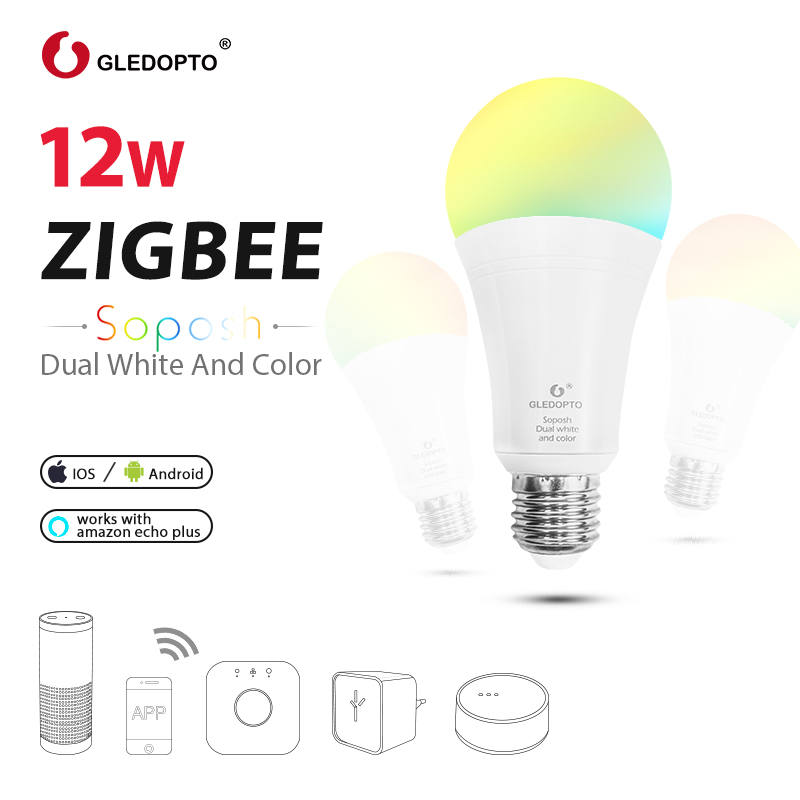GLEDOPTO LED ZIGBEE ZLL3.0 12W RGB+CCT Bulb Colorful Bulb AC100-240V RGBCCT 2700-6500K LED Bulb Compatible With Amazon Echo Plus