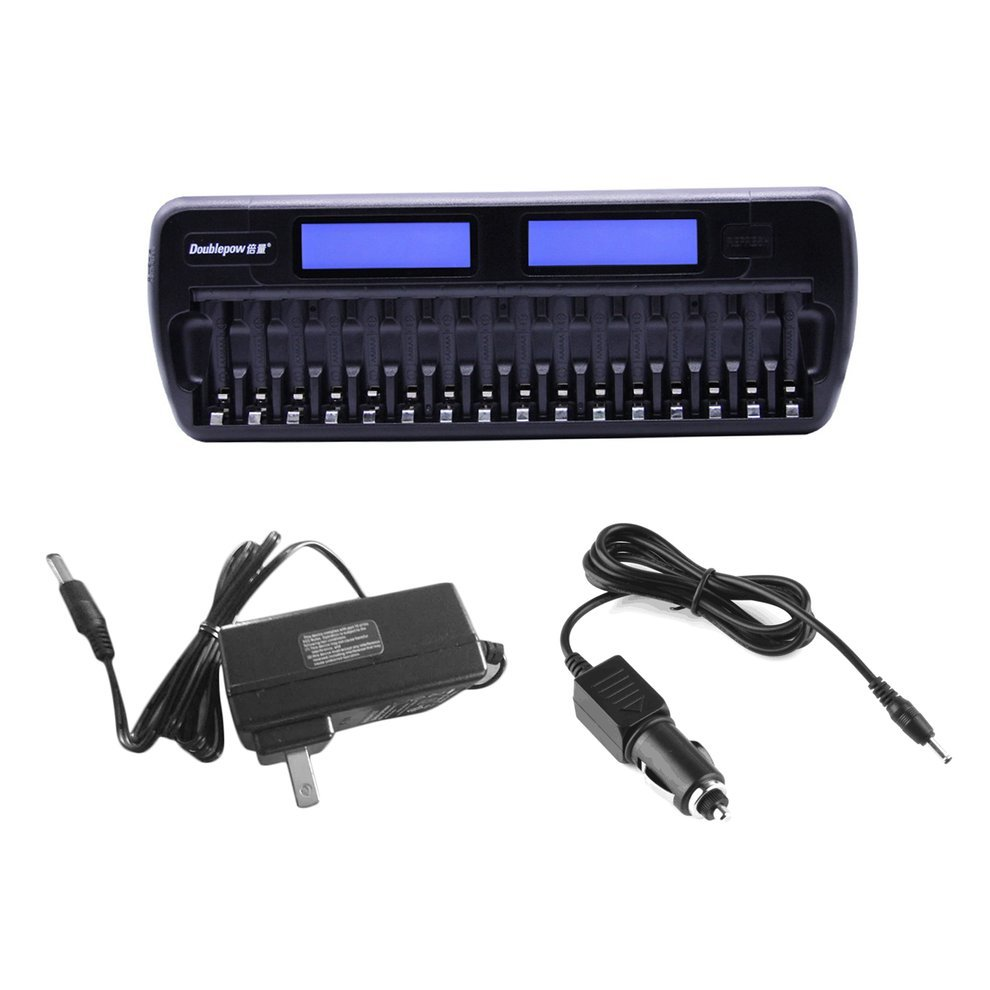 Doublepow 16 Slot Battery Charger LCD Intelligent Rapidly Effectively Charger For AA AAA Ni-CD Ni-MH Battery US EU Plug Freeship 5 5 x 2cm lcd multifunctional intelligent digital 4 x aa aaa batteries charger black us plug