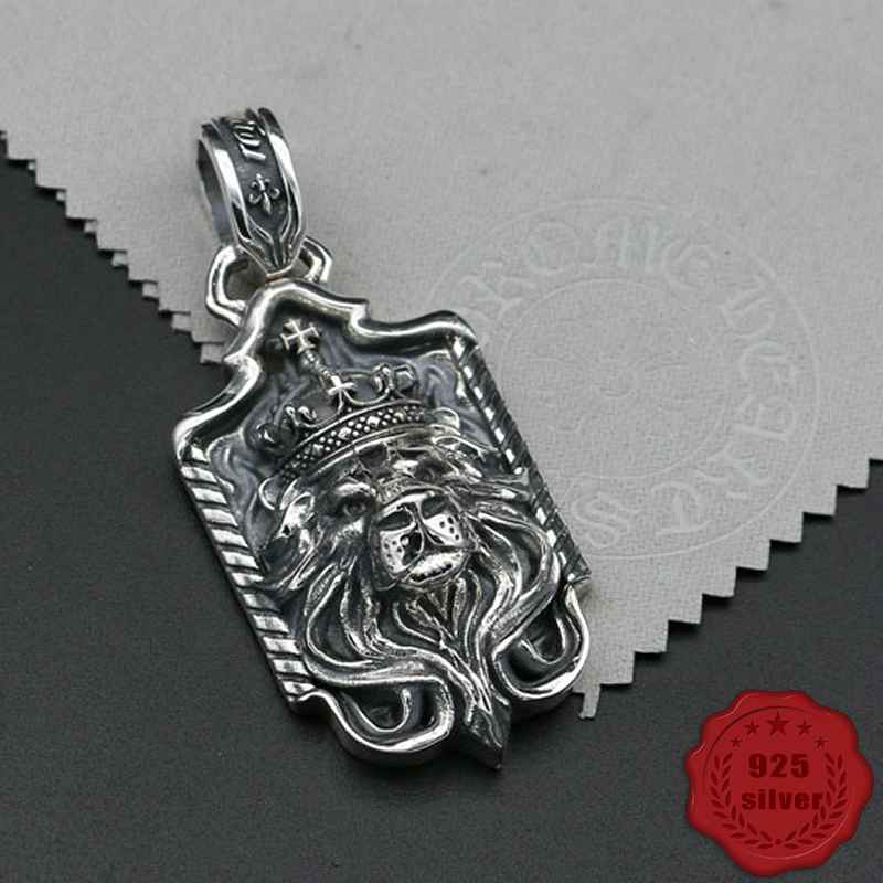 925 sterling silver pendant personality fashion retro punk style engraving lion style domineering jewelry tag 2018 new hot sale 100% s925 sterling silver key chain personality fashion retro punk style heart shaped sword design gift 2018 new hot sale