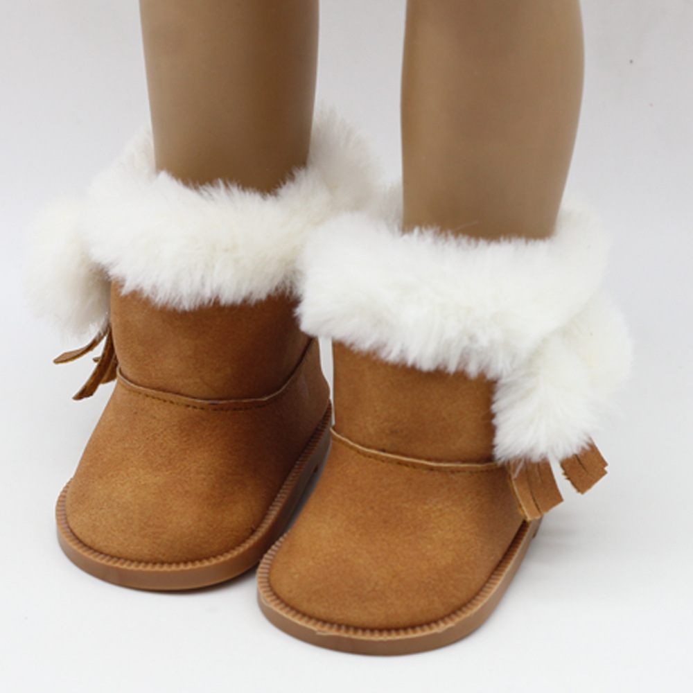 1 Pair Plush Winter Snow Boots For 43cm Babie Baby Born Dolls As For 18 Inch American Girl Dolls Mini Shoes For Christmas Gift