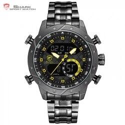 SHARK Watches Fashion Casual Analog Digital LCD Display Auto Date Calendar Alarm Wristwatch erkek kol saati Clock for Men /SH593