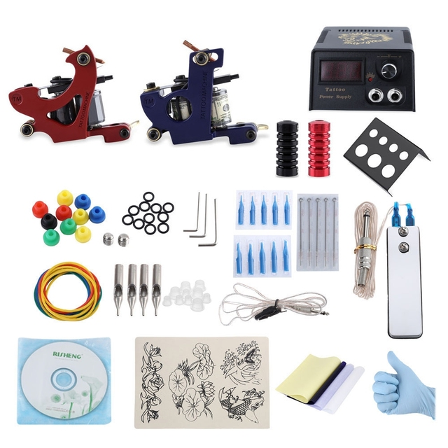 Professional 1 Set Complete Electric Tattoo Shader Kit 2 Machine Gun Power Supply for Shader / Liner with CD