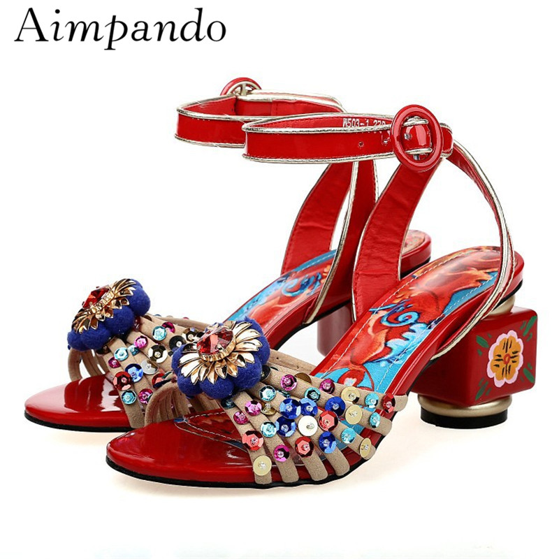 Luxury Sequins Handmade Crystal Flower Sandals Women Ankle Strap Printed Color Square Heel Peep Toe Pompoms Summer Shoes WomanLuxury Sequins Handmade Crystal Flower Sandals Women Ankle Strap Printed Color Square Heel Peep Toe Pompoms Summer Shoes Woman