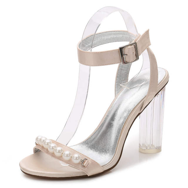 Fashion clear block high heel lady satin dress sandals pearls string ankle  strap woman summer high e4f8433169bf