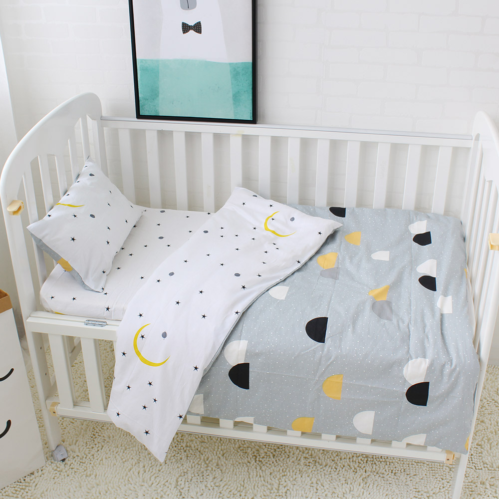 Baby Bedding Set 5 Pcs Pure Cotton Baby Crib Bedding Set Quilt Pillow With Filling Bed Sheet Star Stripe Patter Baby Bed Linen простынь swaddledesigns fitted crib sheet turquoise stripe