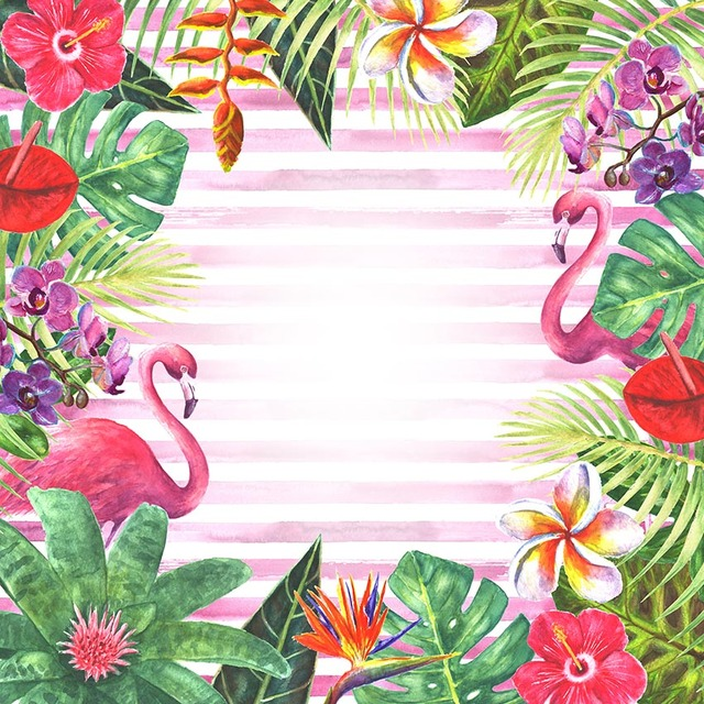 Vintage Style Tropical Bird And Flowers Background: Oil Painting Flamingo Bird And Tropical Flowers Photo