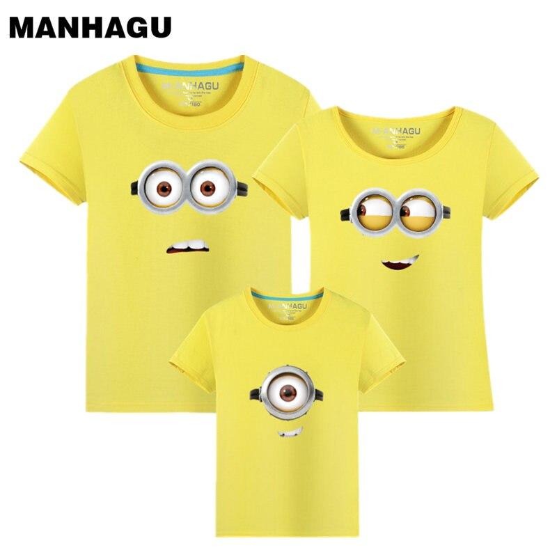 MANHAGU Marque 1 pièce Famille Correspondant Tenues Minions T-shirts mère et enfants T-shirt Vêtements Pour La Famille Mère Fille père fils