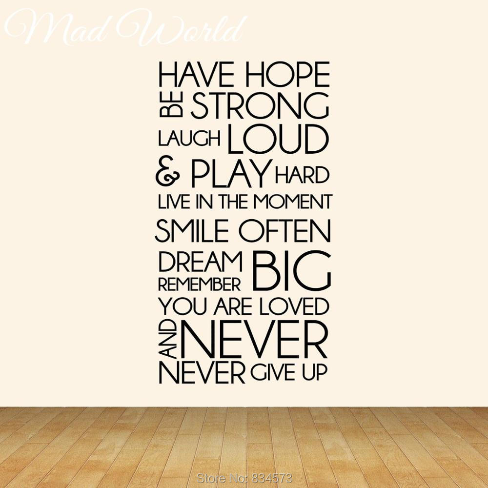 Mad World Have Hope Be Strong MOTIVATIONAL Wall Art ...