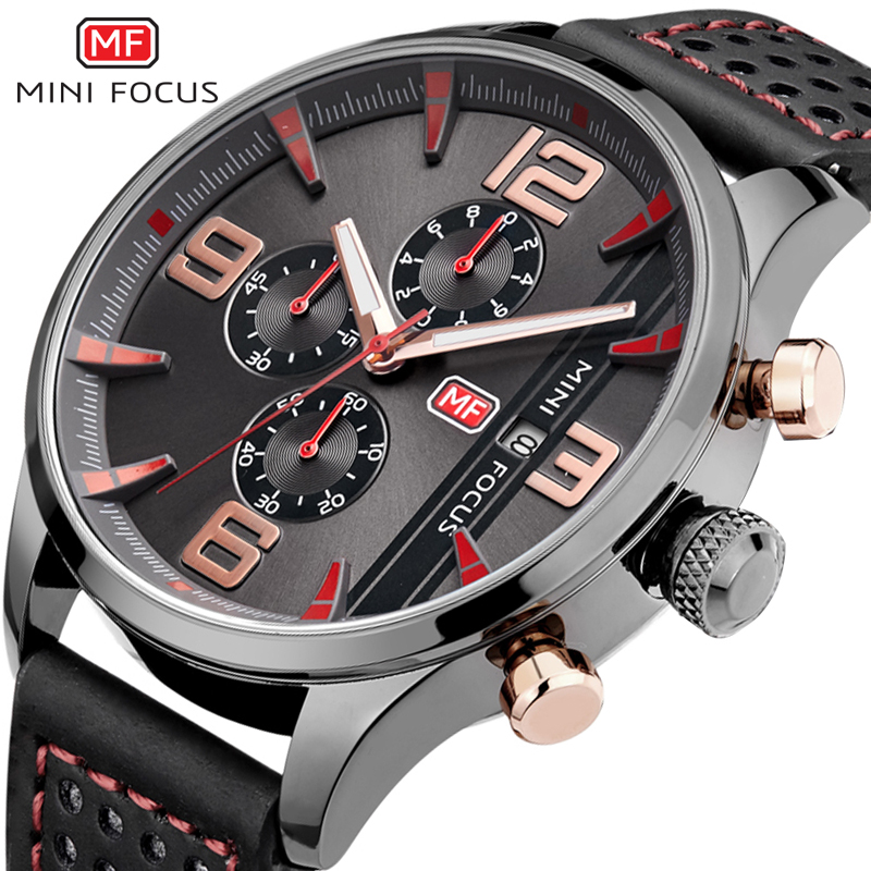 MINIFOCUS Fashion Men Watches Luxury Brand Sport Militar Quartz Mens Watch Waterproof 30m Calendar Relojes Hombre 2018