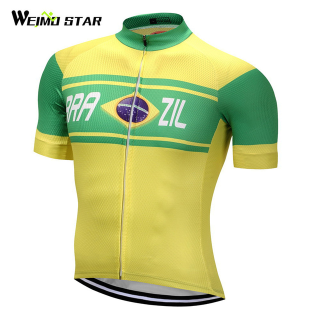 Weimostar 2018 Pro Team Brazil Racing Sport Bicycle Cycling Clothing  Breathable mtb Cycling Jersey Mountain Road Bike Jersey 21b30ecb6